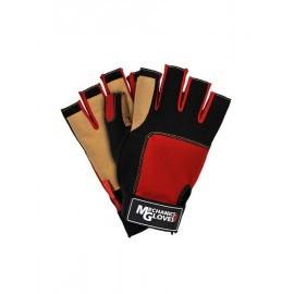Rękawice ochronne wykonane ze skóry syntetycznej połączonej z tkaniną, bez końcówek na palcach RMC-LIBRA