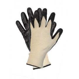 Rękawice ochronne powlekane wykonane z przędzy stretch-kewlar powlekane nitrylem RKEVSTRENI