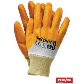 Rękawice ochronne wykonane z nitrylu, zakończone ściągaczem RECONIT-Y