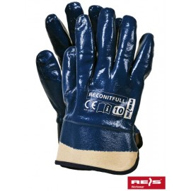 Rękawice ochronne powlekane nitrylem, zakończone usztywnianym mankietem RECONITFULL