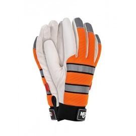 Rękawice ochronne, ocieplane wykonane z wysokiej jakości skóry koziej w jasnym kolorze połączonej z tkaniną RMC-FORNAX