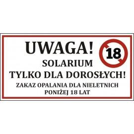 Tabliczka PCV - SOLARIUM TYLKO DLA DOROSŁYCH