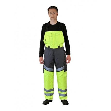 Spodnie ogrodniczki ocieplane wykonane z fluorescencyjnej tkaniny poliestrowej TRANPER