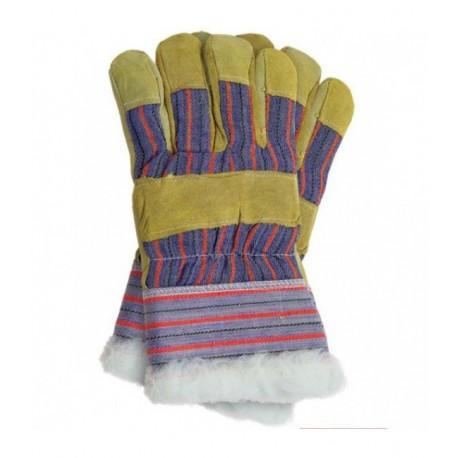 Rękawice ochronne ocieplane kożuszkiem wzmacniane skórą bydlęcą w kolorze żółtym RSO