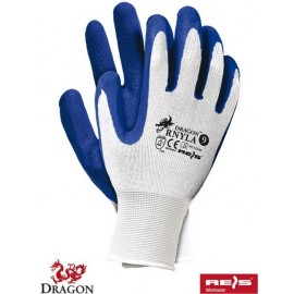Rękawice ochronne wykonane z nylonu z dodatkowym powleczeniem z latexu RNYLA