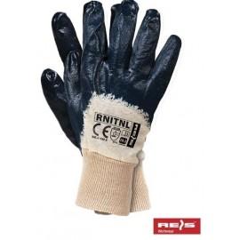 Rękawice ochronne powlekane nitrylem, zakończone dzianinowym ściągaczem RNiTNL
