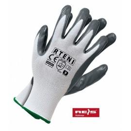 Rękawice ochronne wykonane z poliestru, powlekane nitrylem RTENI