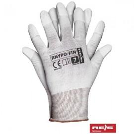 Rękawice ochronne wykonane z nylonu powlekane na końcówkach palców poliuretanem RNYPO-FIN