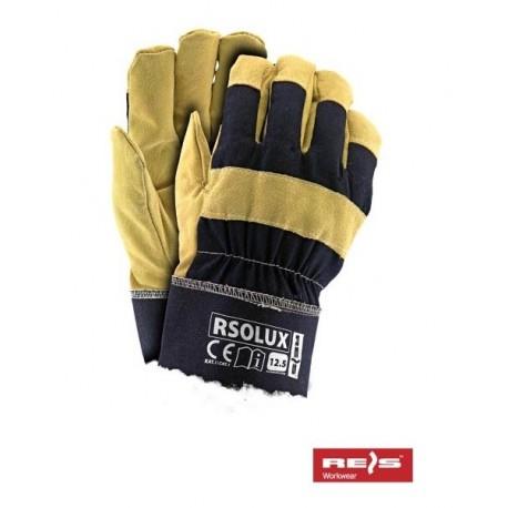 Rękawice ochronne ocieplane kożuszkiem wzmacniane skórą świńską w kolorze żółtym RSOLUX