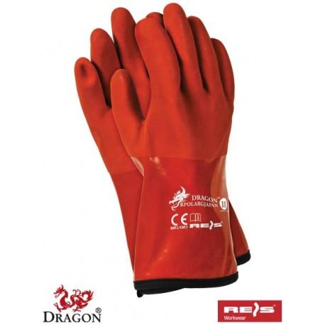 Rękawice ochronne termoodporne wykonane z PCV w kolorze pomarańczowym RPOLARGJAPAN