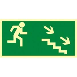Kierunek do wyjścia drogi ewakuacyjnej schodami w dół 2