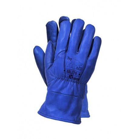 Rękawice ochronne ze skóry licowej bydlęcej, ocieplane kożuszkiem RBLUTO