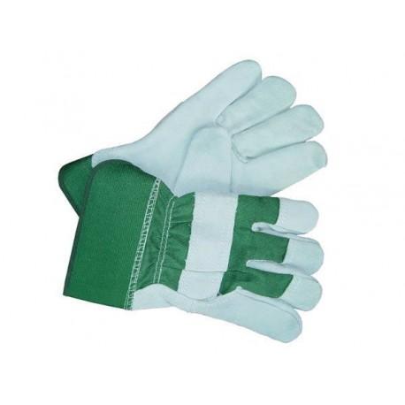 Rękawice ochronne wzmacniane skórą bydlęcą RBCMGREEN